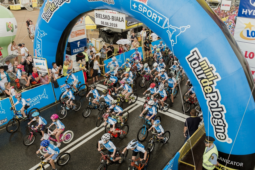 View on the start of the Kinder+Sport Mini Tour de Pologne in Bielsko Biała
