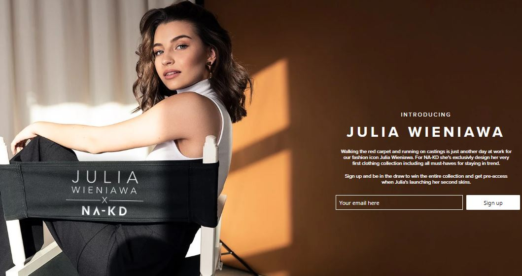 NA-KD brand ad with Polish influencer Julia Wieniawa.