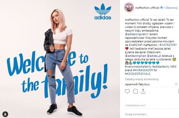 Maffashion's Instagram posts announcing that she became an ambassador of Adidas Poland.