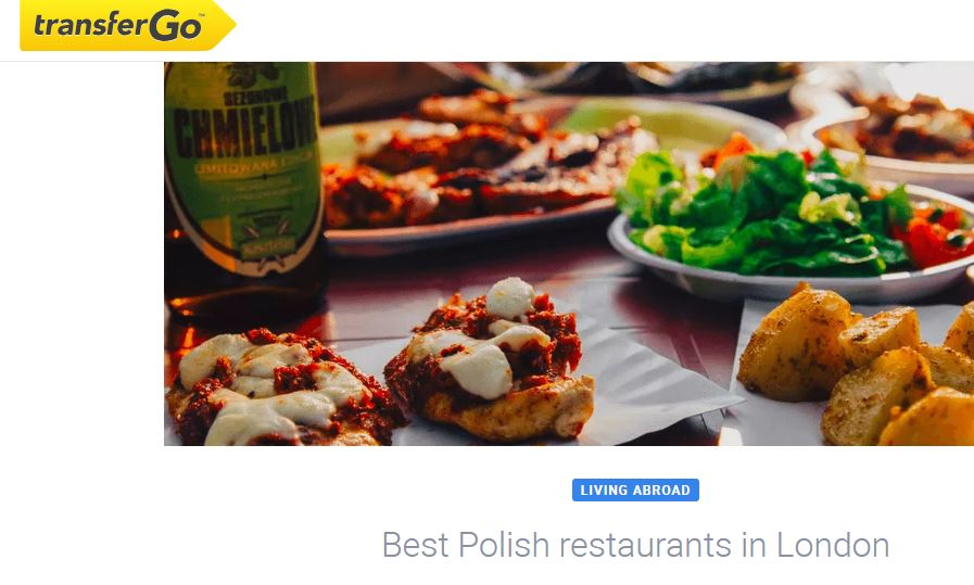 Print screen of TransferGo blog post about best Polish restaurants in London