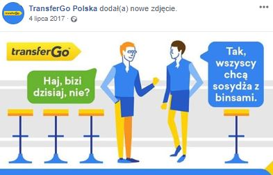 Print screen of Transfer Go Facebook post in Polish