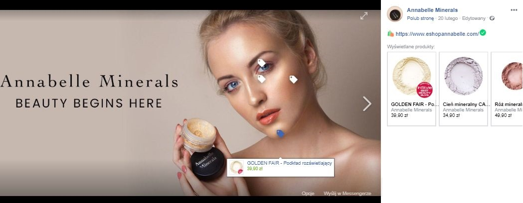 Facebook cover photo of Annabelle Minerals with Product Tags