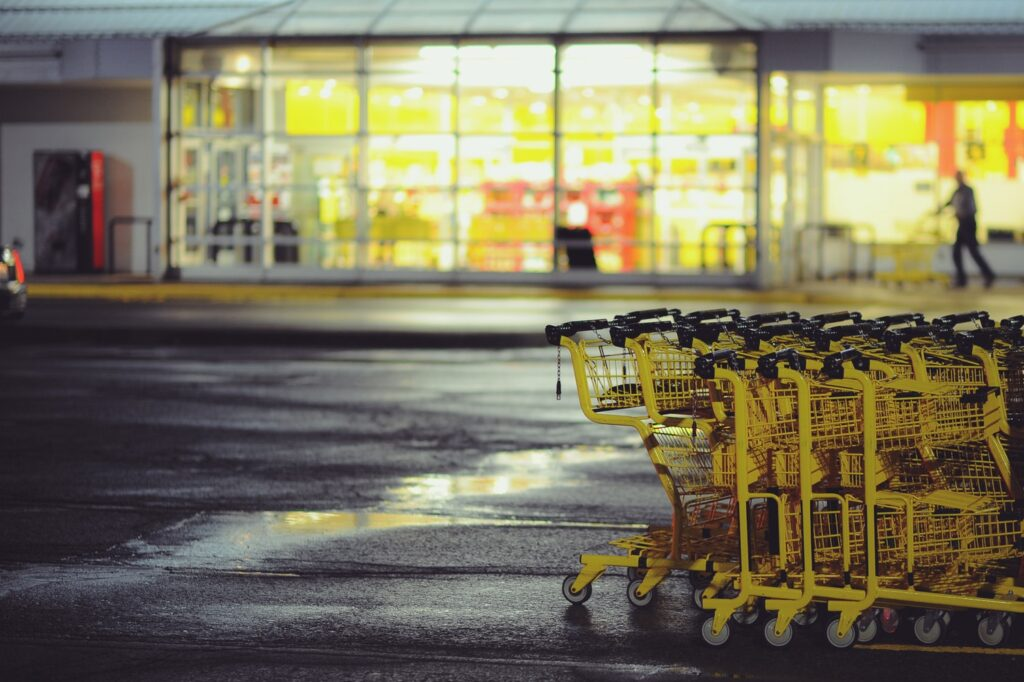 Trolleys in the background of a store