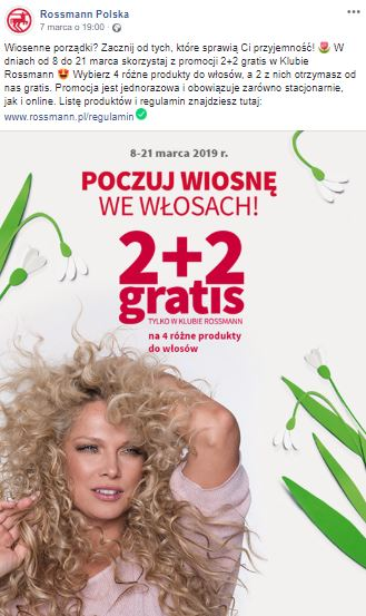 Rossmann's Facebook post with Joanna Liszowska – one of the brand ambassadors