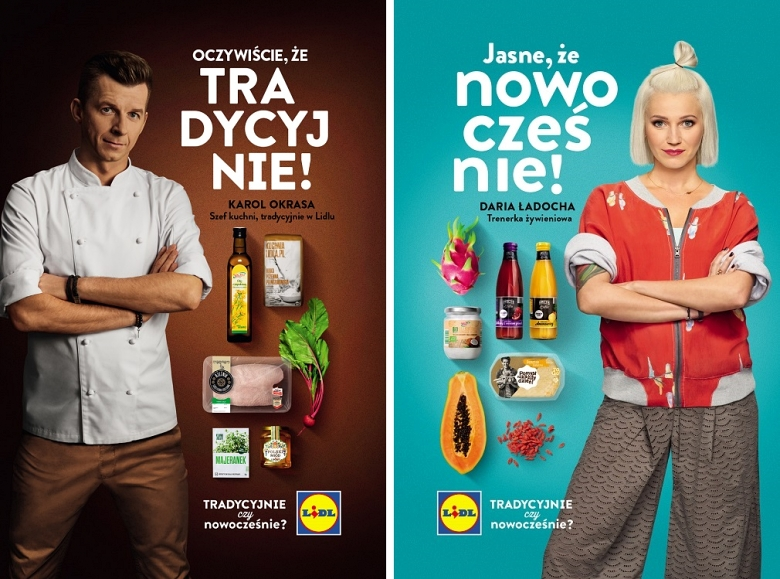 Promoting material from Lidl with brand ambassadors: Daria Ładocha and Paweł Okrasa