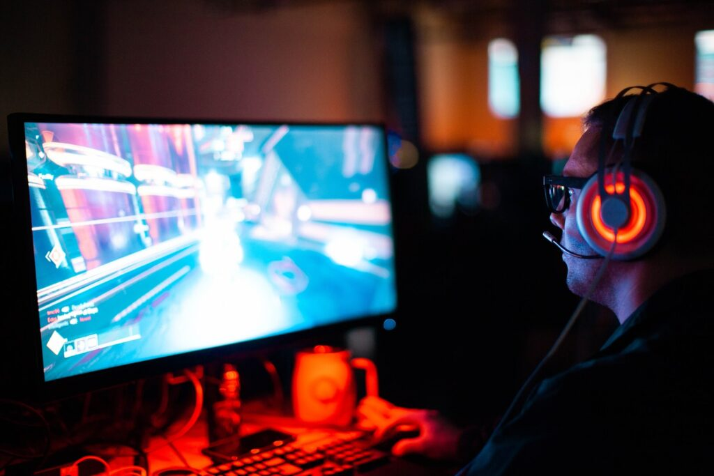 A man playing a video game