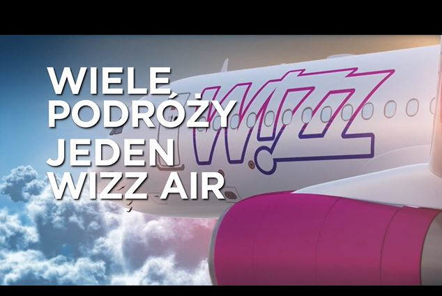 A frame from cinema advertisement of Wizz Air airlines