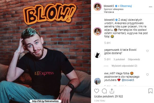 Instagram post made by Blowek – the biggest Polish YouTuber