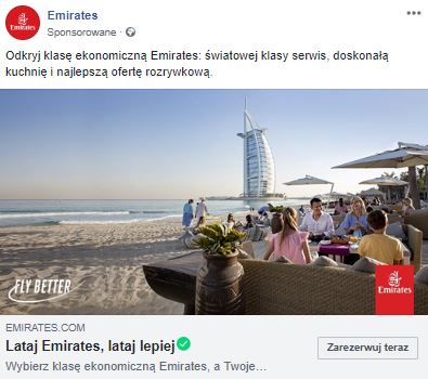 Emirates targeted a Facebook ad for Poles