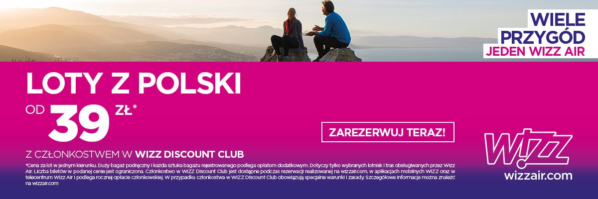 Wizz Air digital advertisement promoting special offers of flights for Poles
