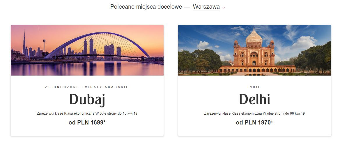 A print screen from the Polish Emirates website