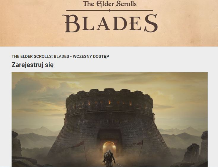 A website with the access to Blades video game preorder