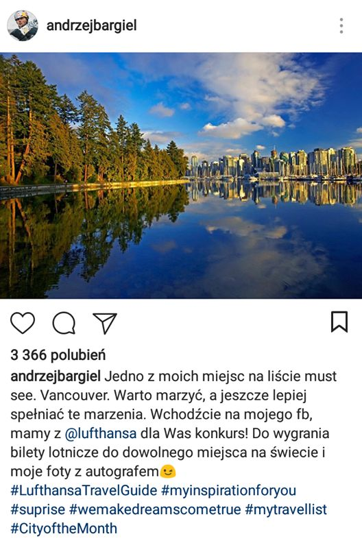 Instagram post made by Andrzej Bargiel promoting Lufthansa campaign