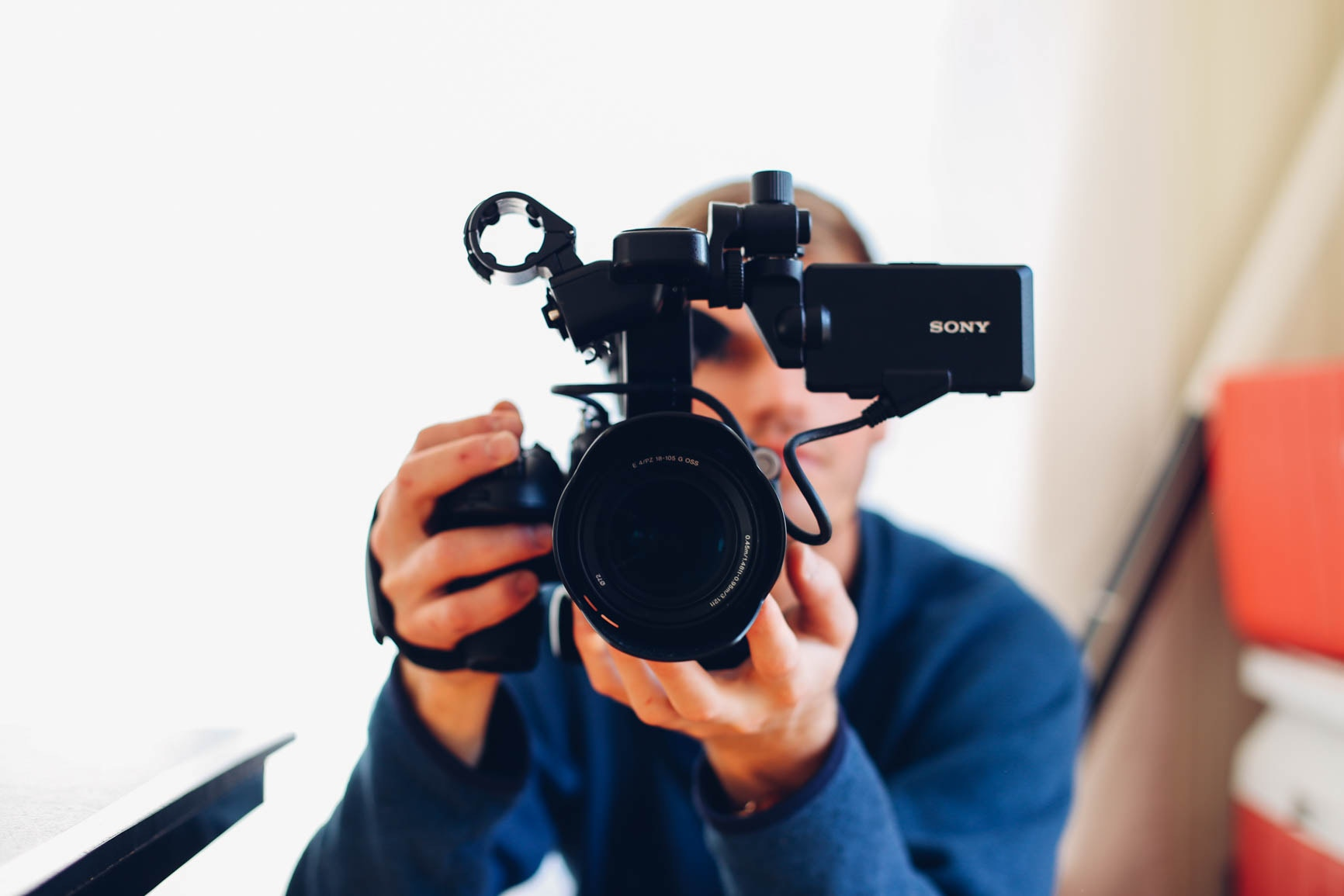 Video operator with a professional camera