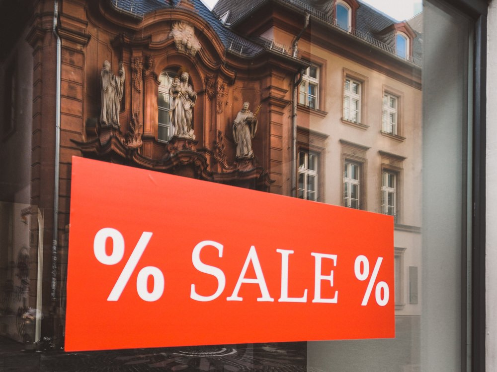 Sale sign on a shop window